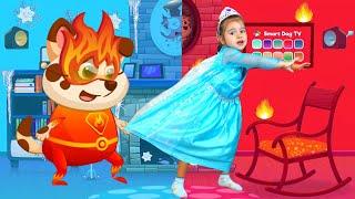 Arina and Hot vs Cold Challenge with Duddu dog | Арина и песик Дуду вместе играют