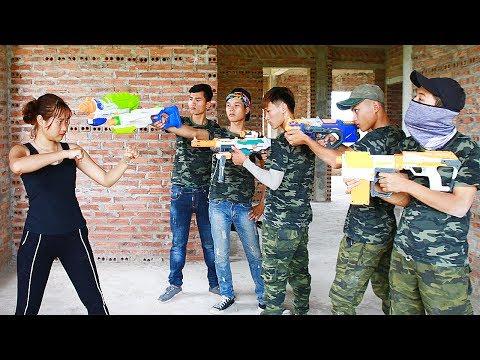 Superhero action HEROMAN & Hero Girl Nerf guns Mercenary fight Detective S.W.A.T Nerf war