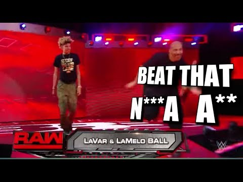 Lavar Ball, Lonzo Ball, and LaMelo Ball on WWE RAW LIVE! - LaMelo Drops The N Word TWICE?!?!