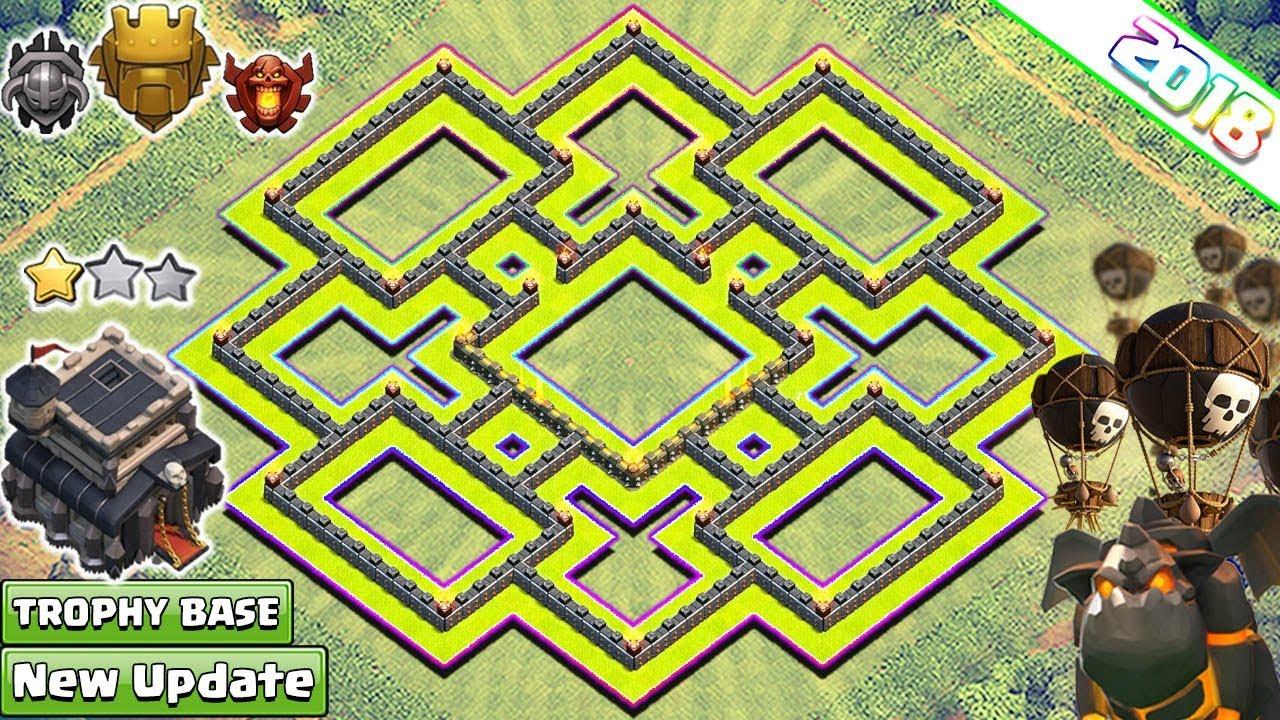 new town hall 9 base layout 2018 anti lavaloon th9 base anti 3