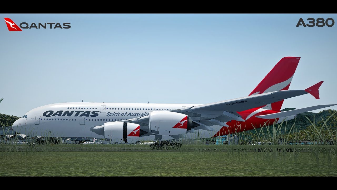 [P3Dv4] Qantas A380 landing at Hong Kong International | QF 117