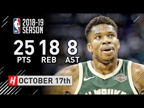 Giannis Antetokounmpo Highlights Bucks vs Hornets 2018.10.17 - 25 Pts, 18 Reb, 8 Ast