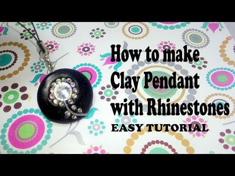 How to make Black CLay Pendent With Rhinestone | tutorial
