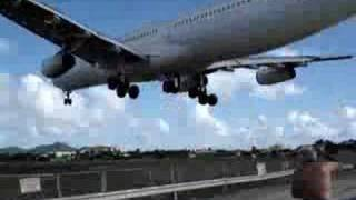 SUPER LOW St Maarten Air France A340 Landing (bounces)