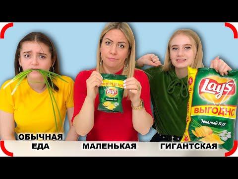 ОБЫЧНАЯ ЕДА Против ГИГАНТСКИХ и МИНИ Чипсов!!