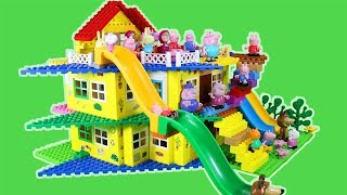 Peppa Pig Blocks Mega House Construction Lego Sets With Water Slide Creative Toys For Kids #5