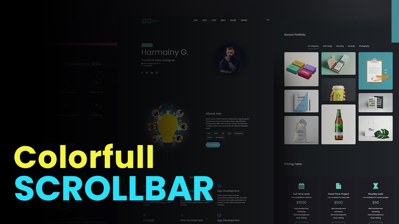 How to Make Custom Scrollbar in Website Design using HTML CSS Only