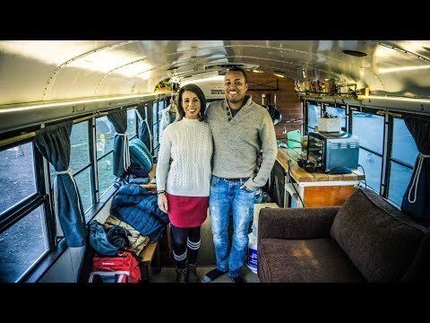 Couple converts a school bus into a beautiful Tiny House on wheels to travel North America.