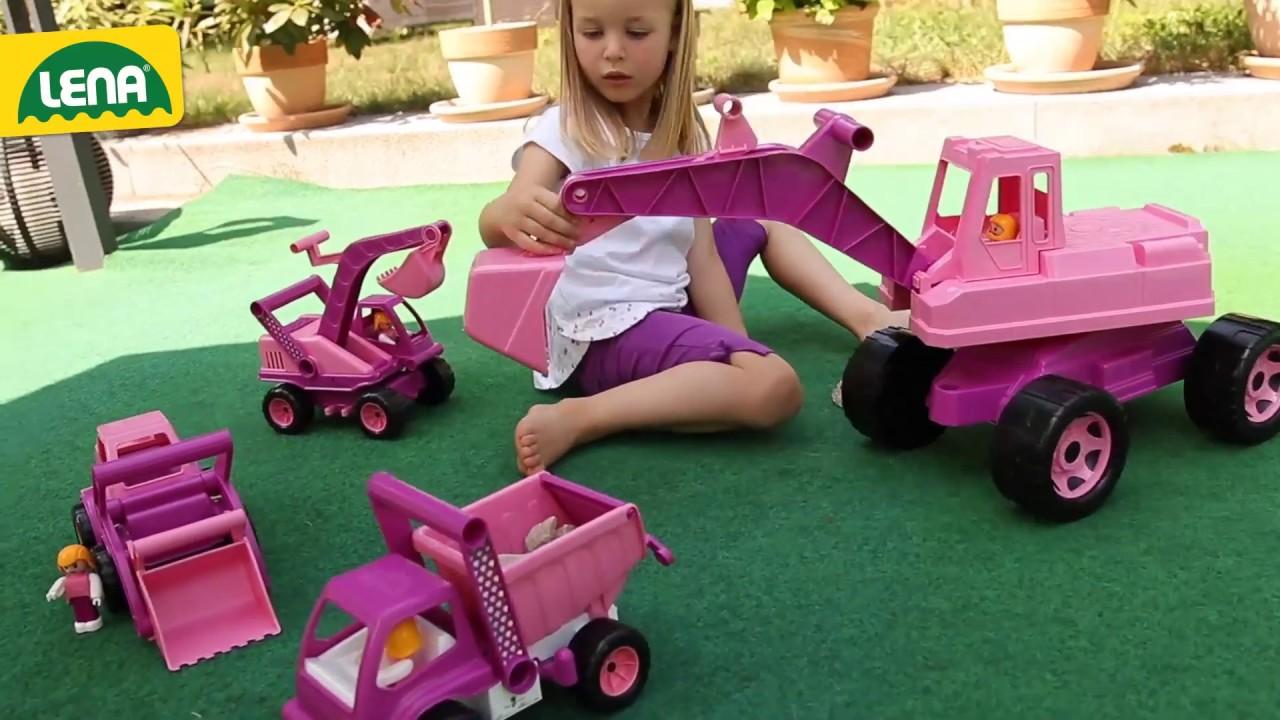 Sitzbagger für Mädchen LENA® GIGA TRUCKS rosa Bagger [Ab 3 ...