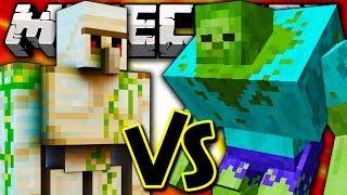 MUTANT ZOMBIE VS IRON GOLEM - Minecraft Batalha de Mobs - Mutant Creatures Mod