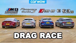 BMW M8 GC v Audi RS6 v AMG E63 S v Porsche Panamera - DRAG RACE