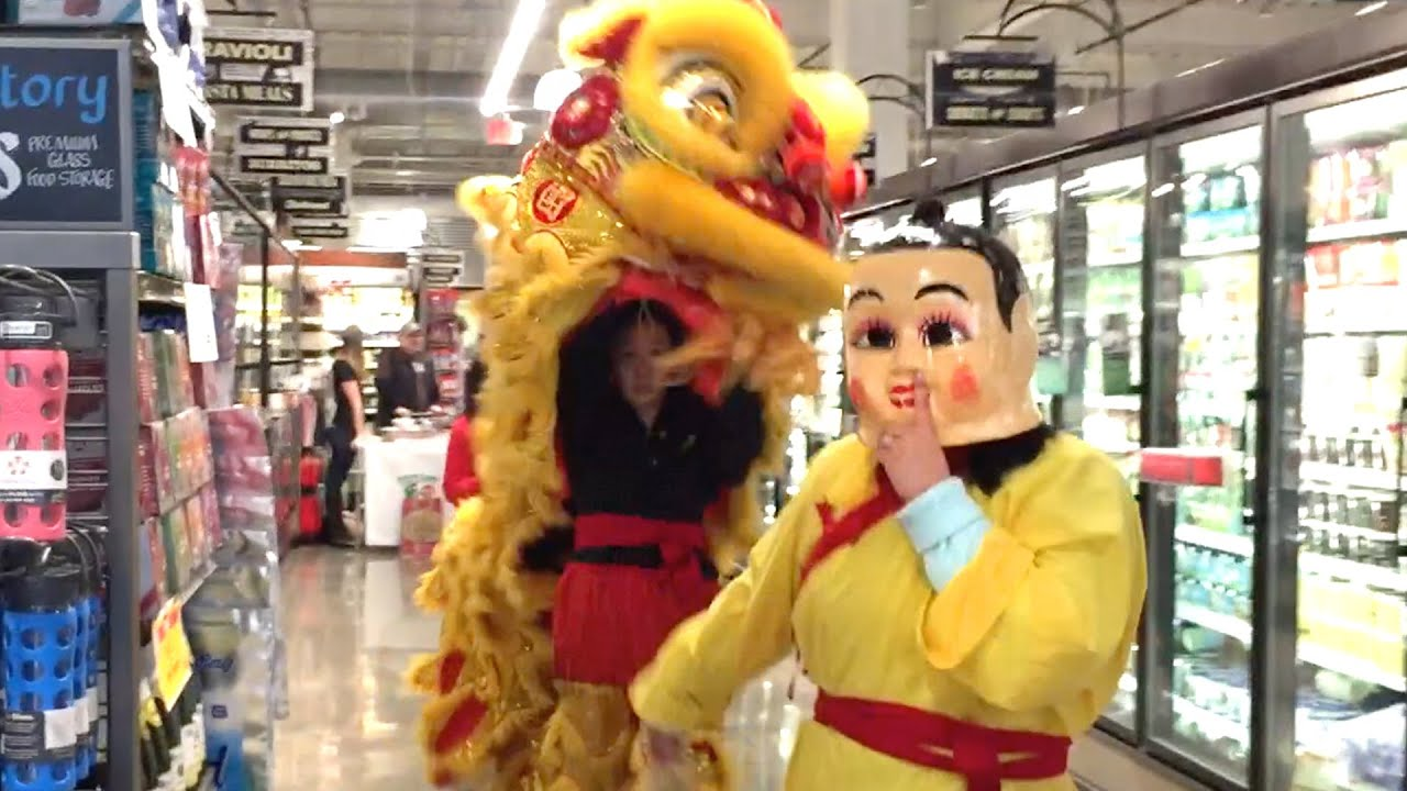 Asian women lion dance