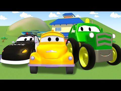 Çekici Tom : Traktör, Itfaiye kamyonu, Çöp kamyonu, Ambulans | Araba ve Kamyon inşaat çizgi filmi