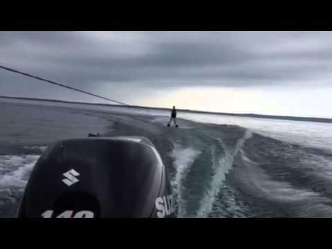 Ngaire waterskiing Aug 2015
