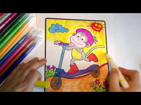 Dora The Explorer Monkey Boots Riding A Scooter Coloring Pages For