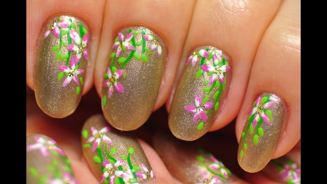Nail Art. Small Pink Flowers. - YouTube
