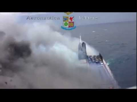 Italian AF helicopter hoist operations on Norman Atlantic ferry