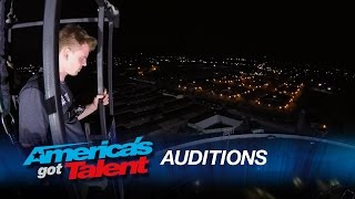 Greg V Roe: Man Performs Amazing Twists During 18-Story Jump - America's Got Talent 2015