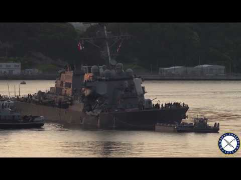 Stricken Destroyer USS Fitzgerald Pulls Into Yokosuka Japan