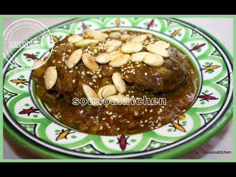 Cours de Cuisine Marocaine Mrouzia Tajine de souris d'agneau aux raisins secs
