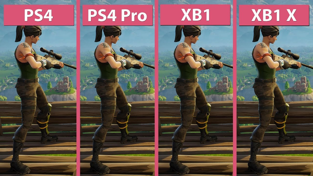4k Fortnite Battle Royale Ps4 Ps4 Pro Xbox One Xbox One X Frame Rate Test Graphics Comparison Youtube