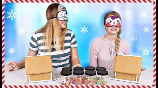 Blindfolded Gingerbread House Decorating Challenge | Christmas 2018 |Taylor and Vanessa