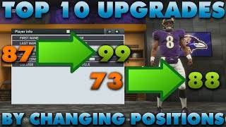 Top 10 Player Overall Upgrades By Changing Positions! Madden 19 Franchise Tips!