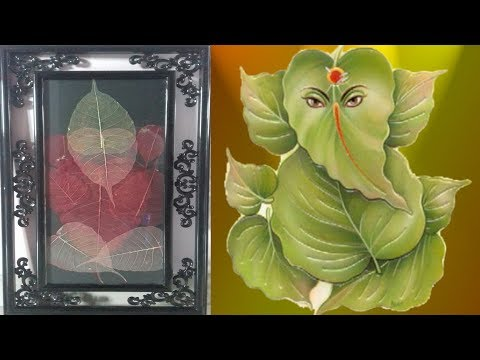 DIY-Art Attack | How to Make Skeleton Leaf Lord Ganesh with Photo Frame at Home
