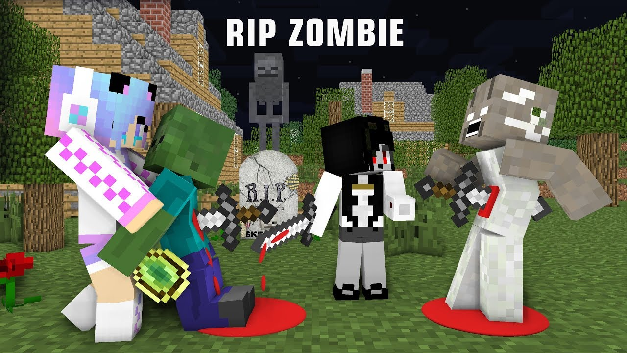 Monster School : RIP Zombie | Zombie Life 3 Vs Cute girl & Slendrina - Minecraft Animation