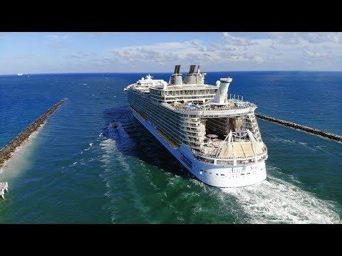 Royal Caribbean Cruise Ships Leaving Miami: Drone Video