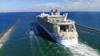 Royal Caribbean Cruise Ships Leaving Miami: Drone
