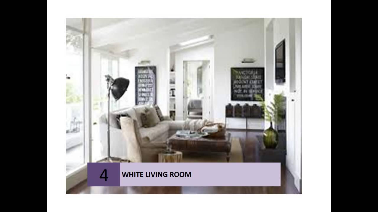 White Living Room Decor Ideas - YouTube