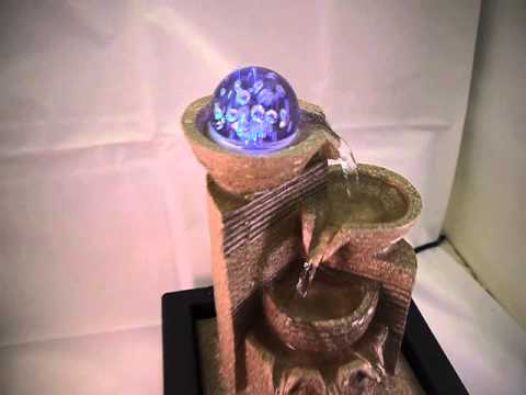 Delightful Chico Table Top Indoor Water Feature Cascading Pump LED Lights New Fountain  7148091