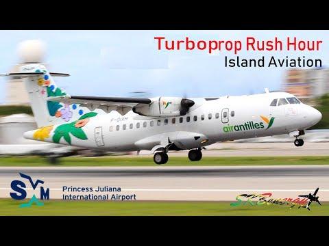 Turbroprop Rush Hour @ St. Maarten - Liat ATR 72-600, Air Antilles ATR 42-500, Insel Air Fokker 50..