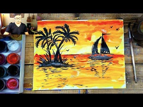 Красный закат на море - Рисуем красками