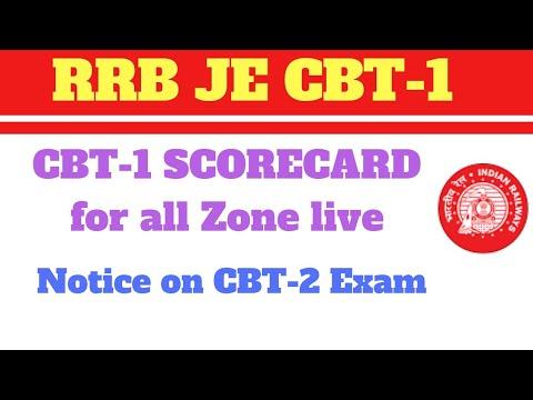 RRB JE CBT-1 Scorecard Live now| Notice on CBT-2 Exam