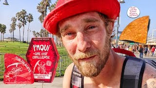 PAYING PEOPLE TO EAT WORLD'S HOTTEST CHIP! PT. 2 | #OneChipChallenge Venice Beach