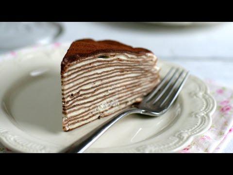 Tiramisu Crepe Cake (Recipe) - Cách làm bánh crepe Tiramisu (không cần lò) -