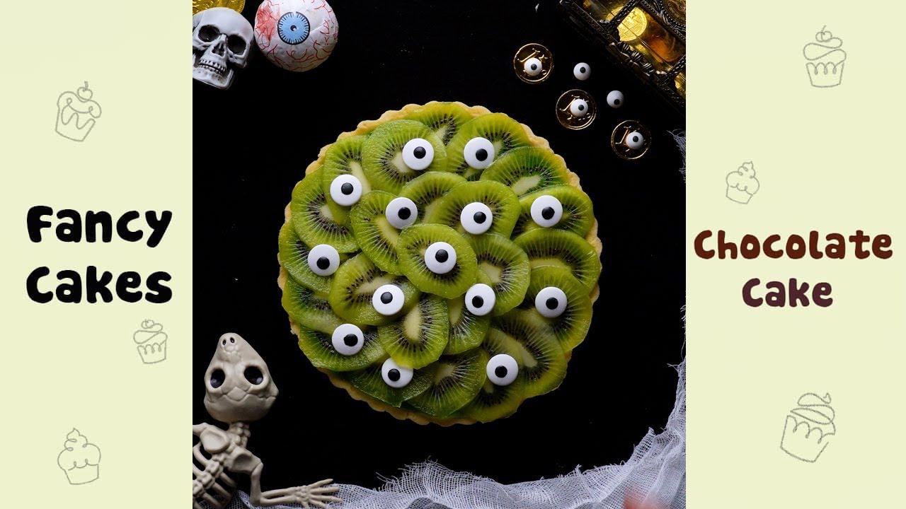 Scary Eyes Kiwi Tart Cake for Halloween Idea #shorts#yumupcakes