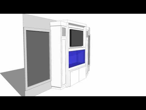 Custom built-in aquarium cabinetry animation