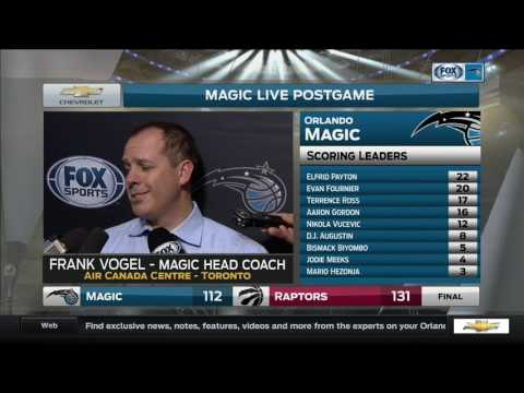 Orlando Magic coach Frank Vogel shows disappointment after loss against the Raptors