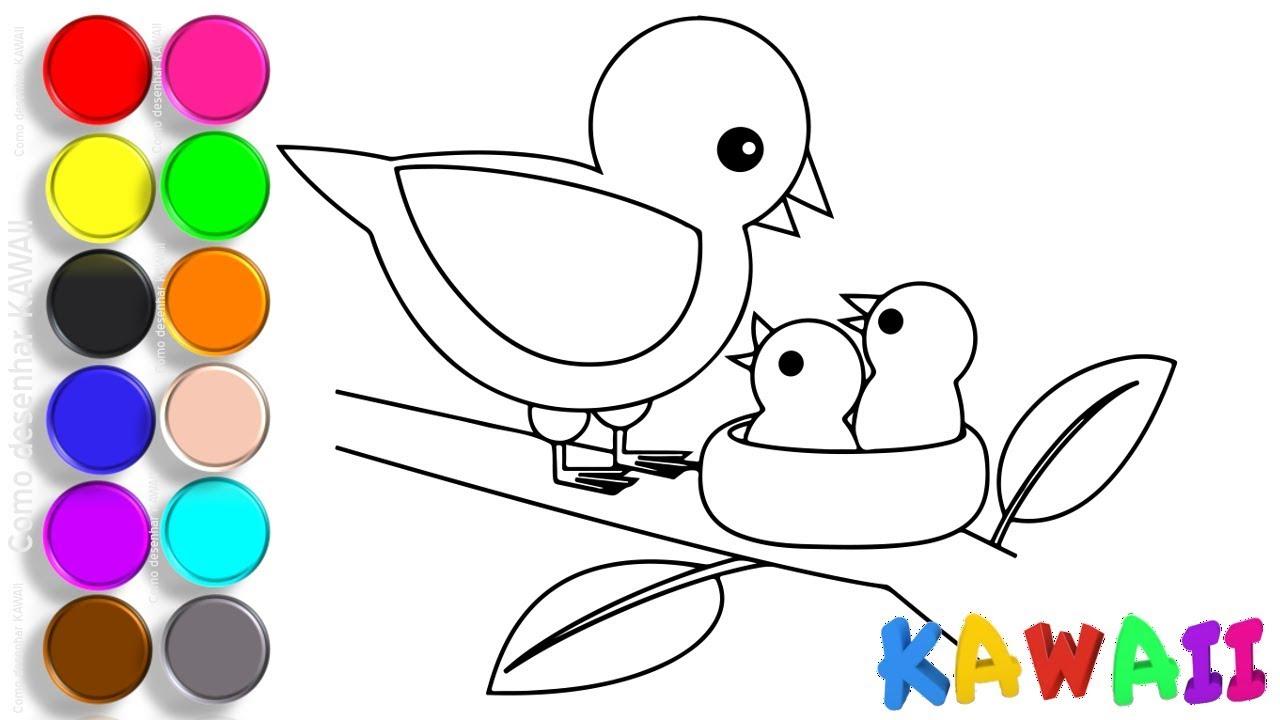 Como Desenhar E Colorir Passaro 4k Animais Para Colorir Youtube