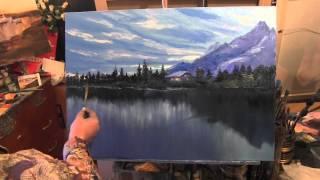Лес и горы у озера, живопись для начинающих, курсы в Москве