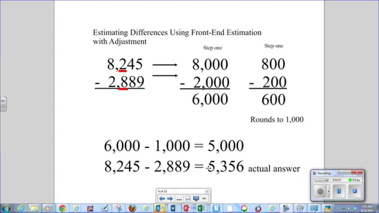 worksheet Estimating Sums estimating sums and differences with front end estimation adjustment