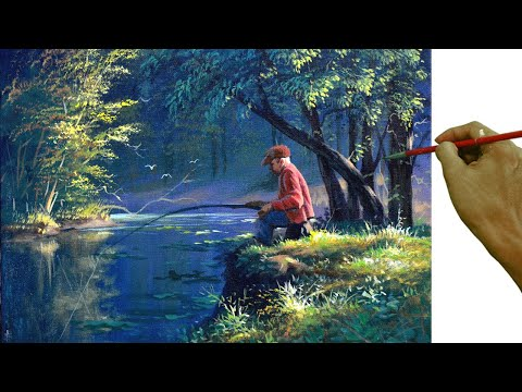Acrylic Landscape Painting Tutorial / Old Man Fishing On The River In Forest