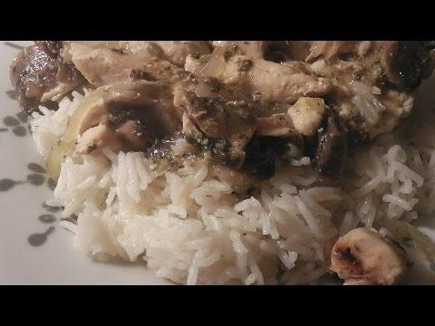 poulet-aux-champignons-au-vin-blanc-et-riz!