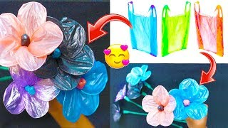 DIY - Reuse Idea With Carry Bags | How To make Flower Using Plastic Carry Bag | Best out of waste