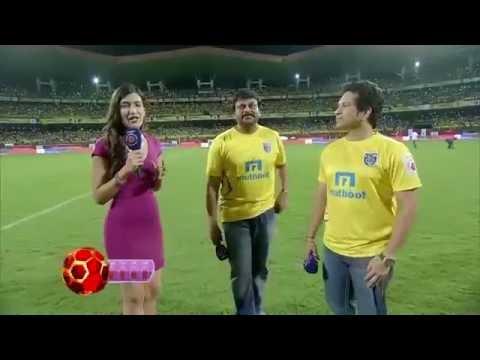 Megastar Chiranjeevi and Sachin Tendulkar at ISL Football