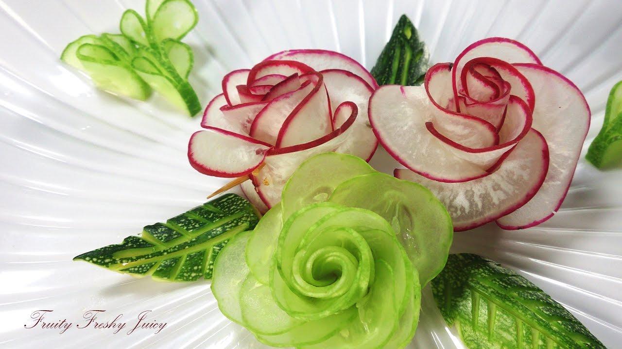 amazing art of radish cucumber rose carving garnish vegetable