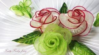 Amazing Art Of Radish & Cucumber Rose Carving Garnish - Vegetable Flower Designs